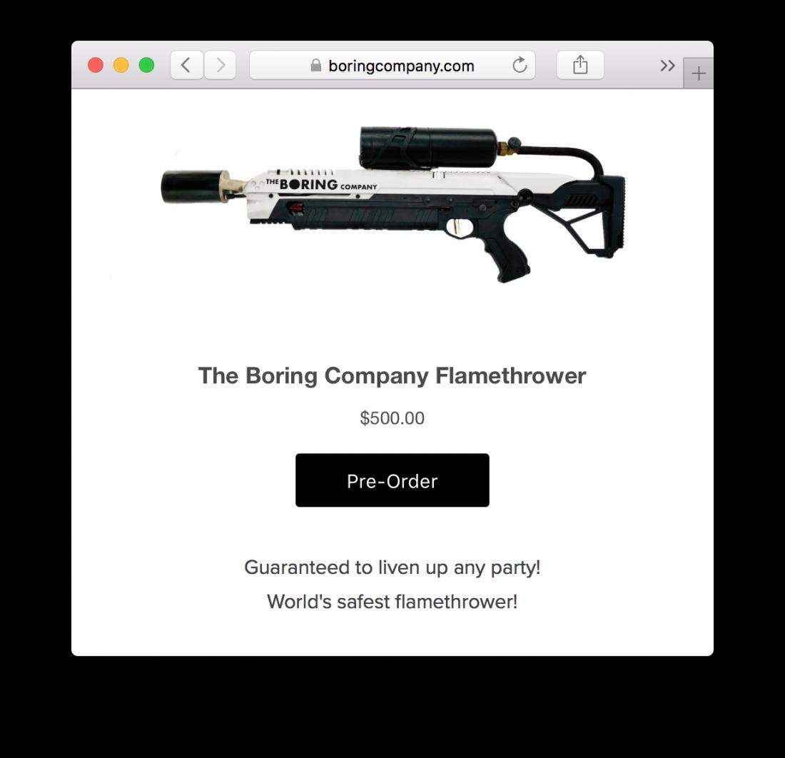 Огнемет Маска стоит 500 долларов