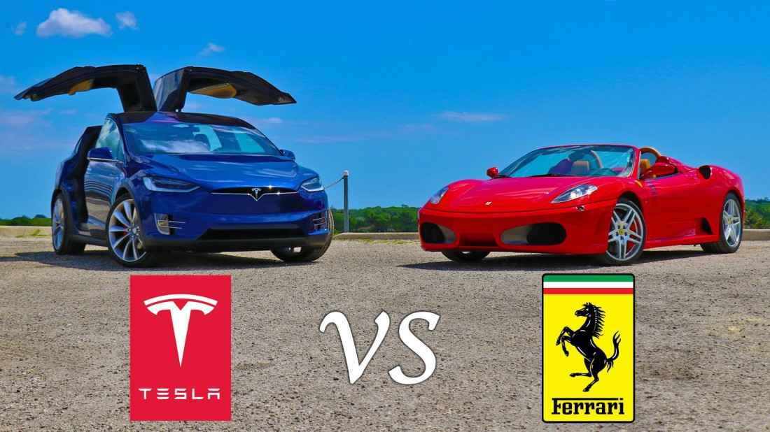 Tesla Model X P90D и Ferrari F430 Spider сошлись в равном бою