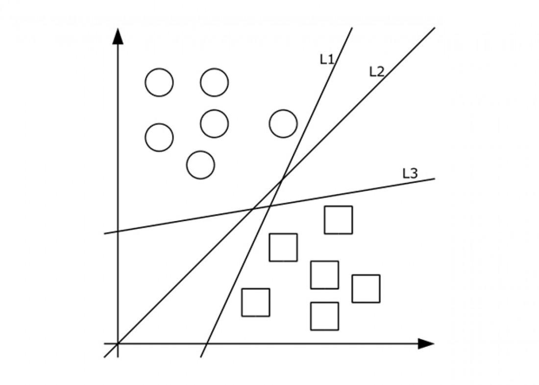 Несколько классифицирующих разделяющих прямых (гиперплоскостей); оптимального решения достигает только одна — одинаково далекая от обеих групп данных