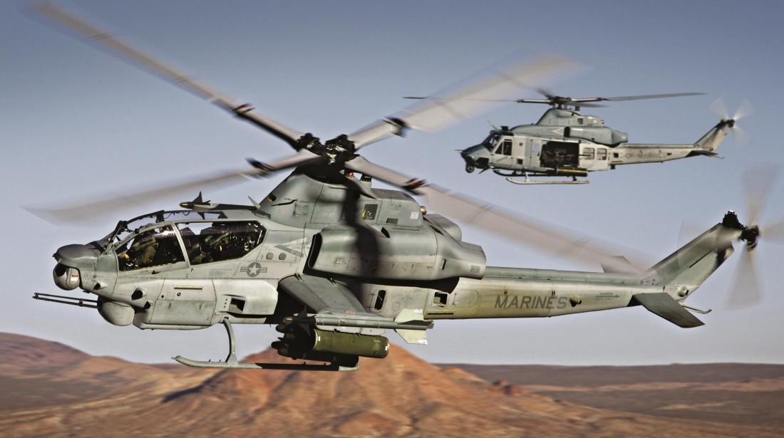 AH-1Z Viper. Имеет 4-лопастный винт и прокачанную авионику