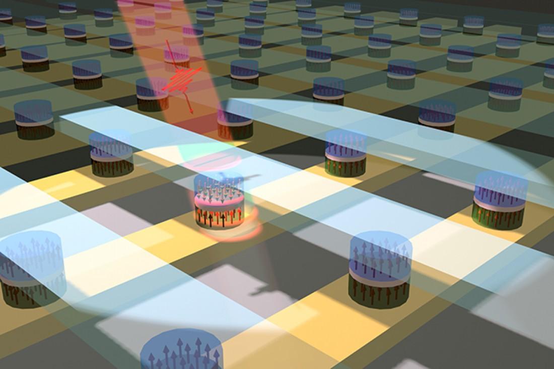 Свет проходит через полупроводник и изменяет информацию, хранящуюся в ячейке памяти