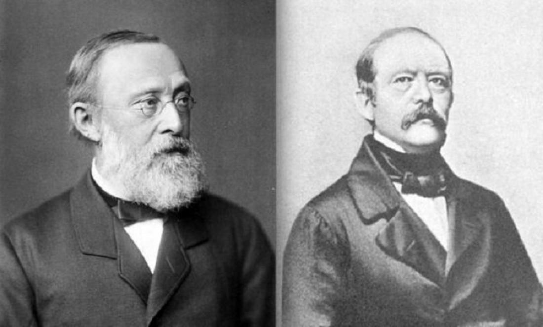 Отто фон Бисмарк (слева) и Рудольф Вирхов (справа)