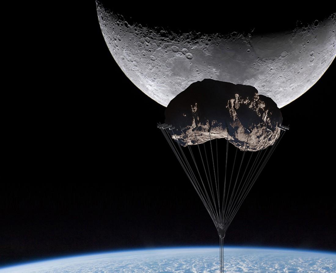 Способ крепления Analemma Tower к еще не прирученному астероиду