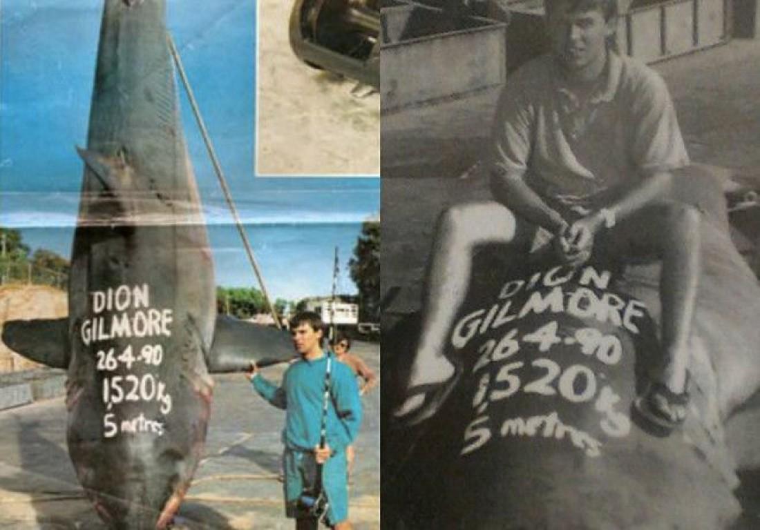 Дион Гилмор и им пойманная 1520-килограммовая акула