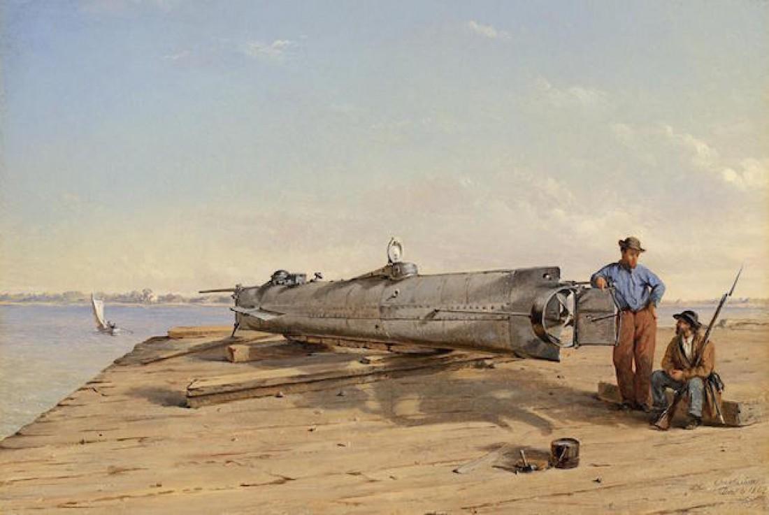 H. L. Hunley. С первым погружением унесла на тот свет 21-го члена экипажа