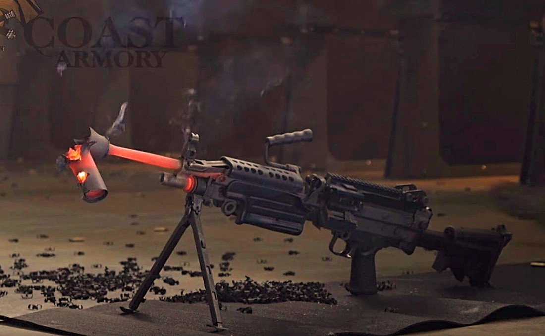 Пулемет М249 и остатки глушителя Silencerco SWR