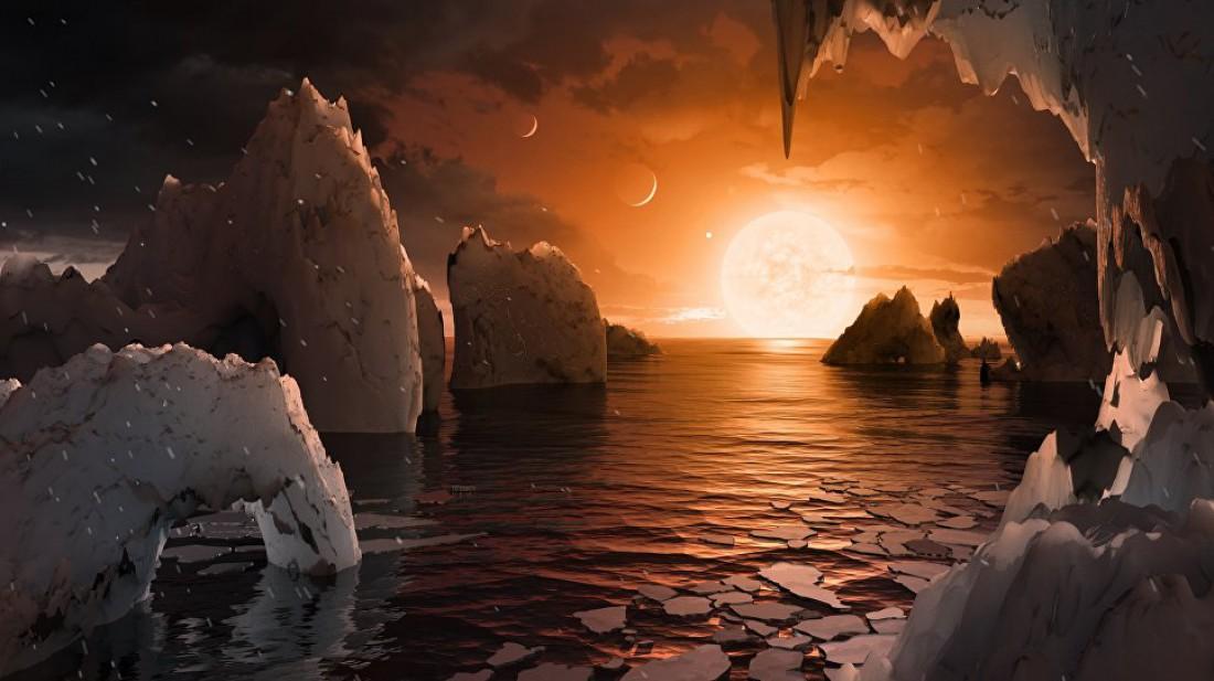 Так может выглядеть поверхность планеты TRAPPIST-1f, считает художник из NASA