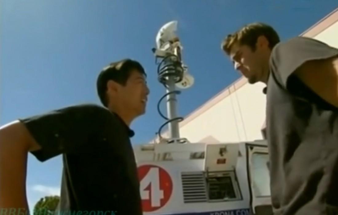 Грант (слева), Тори, фургон и жарящаяся индейка