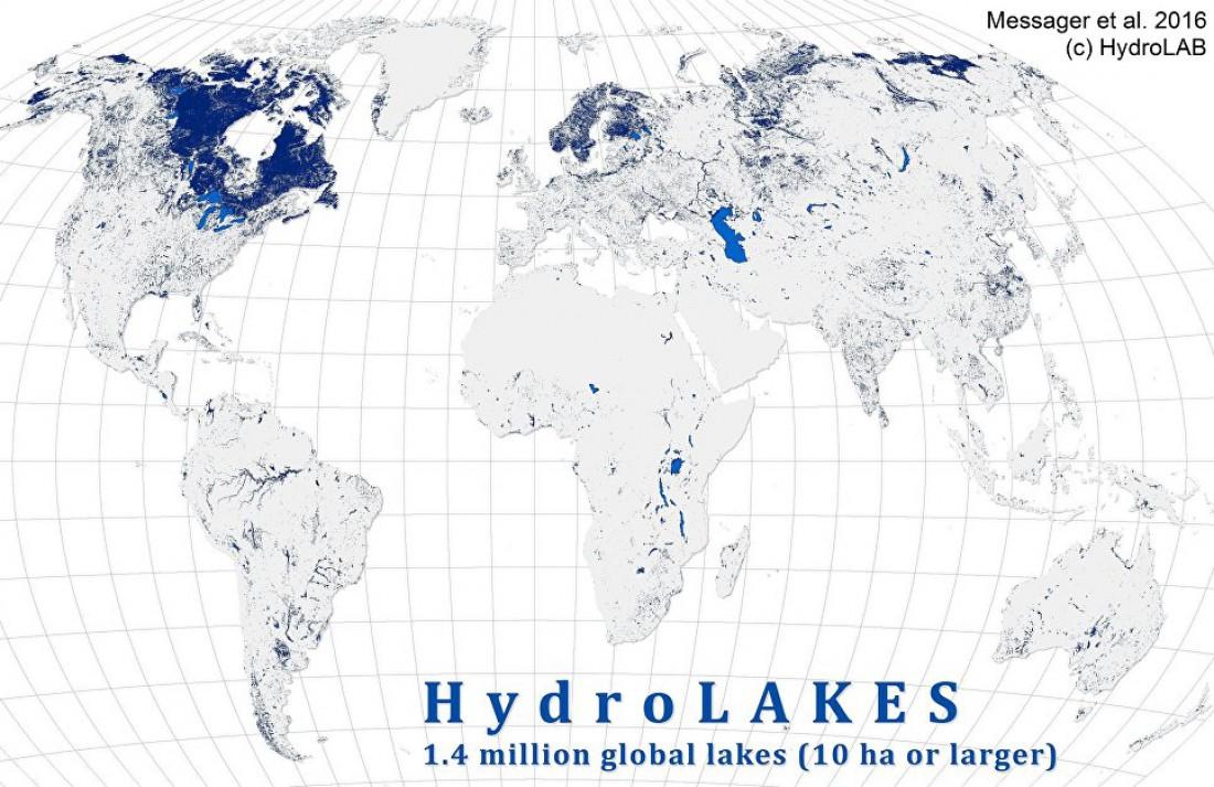 Карта распределения озер по Земле