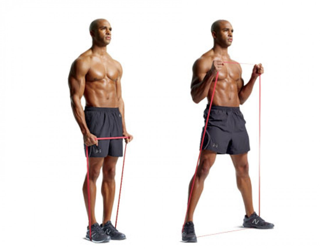 В зависимости от положения ладоней, упражнением можно тренировать трицепсы, бицепсы и мышцы плеч