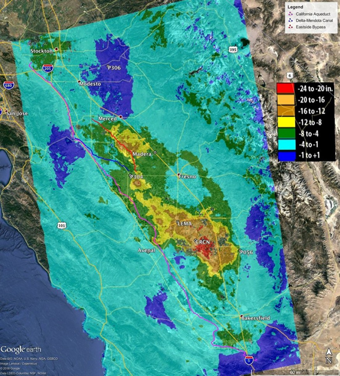 Карта скорости просадки грунта на территории Калифорнии