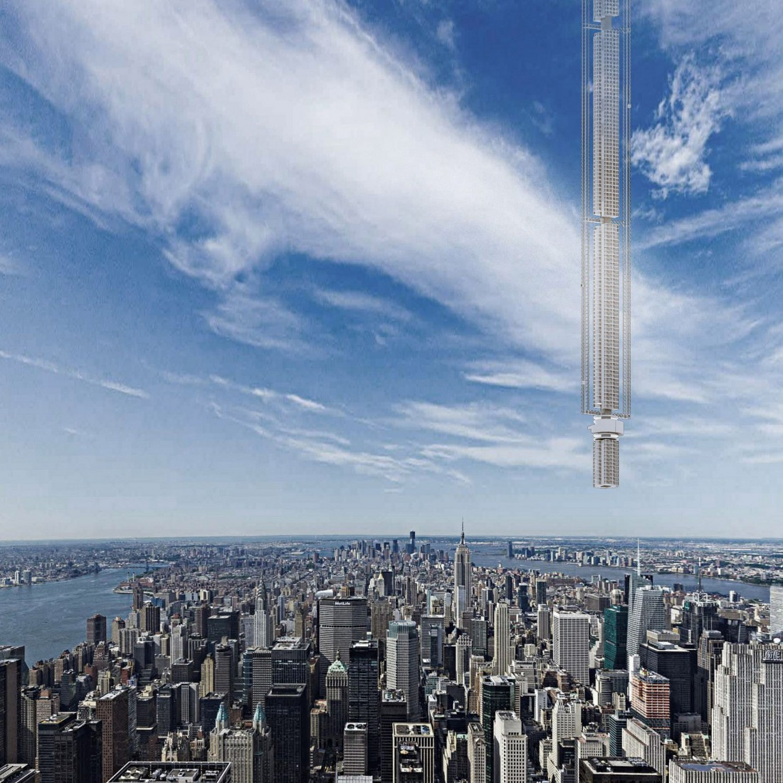 Analemma Tower, свисающая с неба