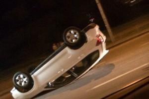 Одна из машин перевернулась. Люди отделались легкими травмами