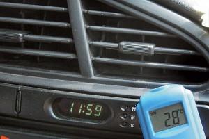 Замер температуры у дефлектора