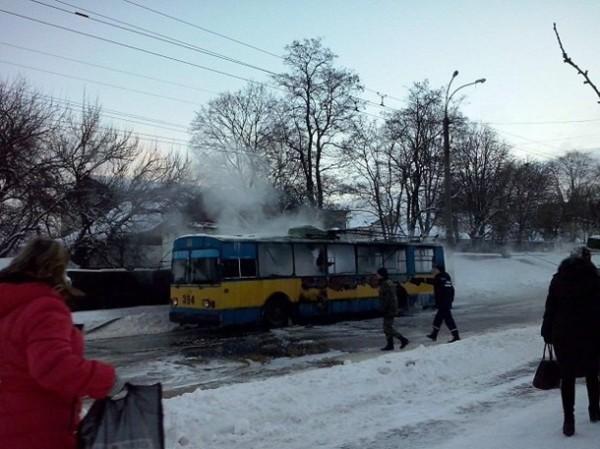 В Чернигове горел троллейбус