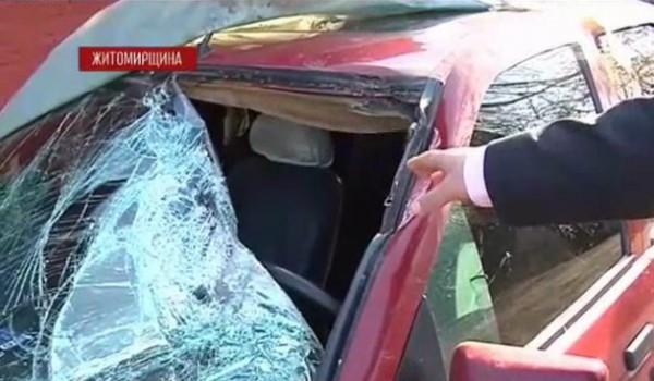 Пятикилограммовый камень едва не убил водителя