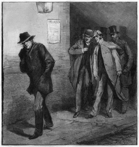 Изображение «With the Vigilance Committee in the East End: A Suspicious Character», опубликованное в газете Illustrated London News 13 октября 1888 года