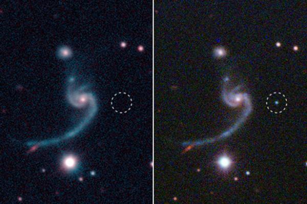 До и во время взрыва сверхновой iPTF14gqr (круг) в удаленной от нас на 920 миллионов световых лет спиральной галактике