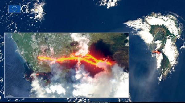 Новый поток лавы стекает с вулкана Кумбре-Вьеха на испанском острове Ла-Пальма после обрушения его кратера 9 октября