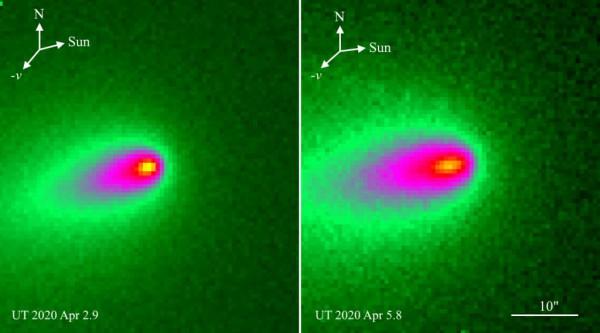 Наблюдения за кометой ATLAS 2 и 5 апреля 2020 года