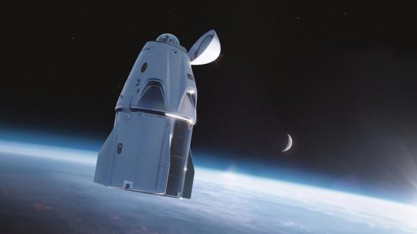 Иллюстрация космического корабля Crew Dragon, оснащенного куполом вместо стыковочного адаптера, используемого для миссий космической станции