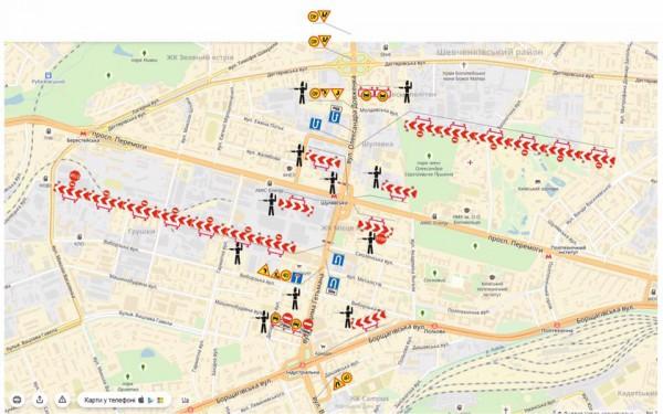 Схема маршрутов объезда Шулявского путепровода