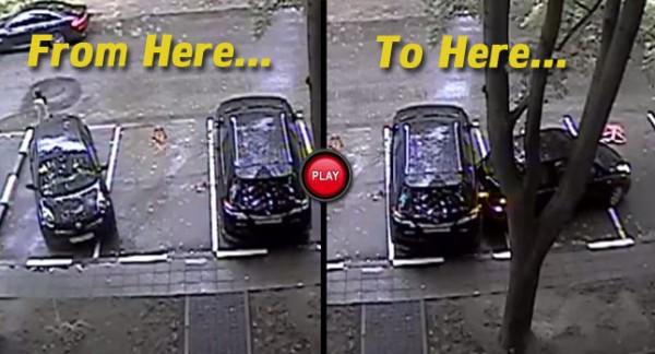 Как Nissan стоял изначально (слева) и где он оказался (справа)