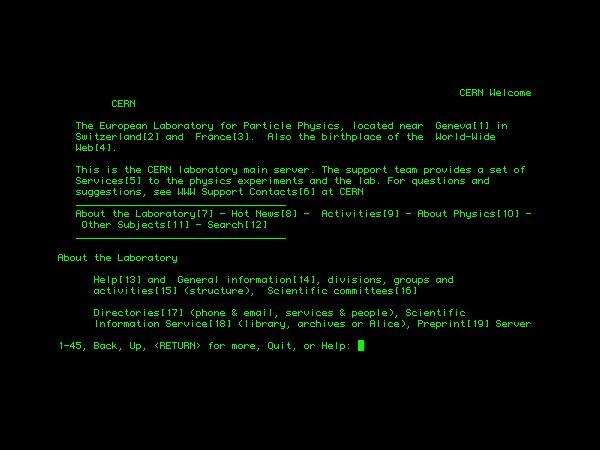 Первый текстовый браузер для доступа сотрудников CERN к сети
