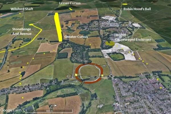 Изображение Google Earth, наложенное на древние места. Стены Даррингтона - это коричневый круг посередине, а Вудхендж - намного меньший слева от него. Недавно обнаруженные валы обозначены желтыми точками, образуя кольцо вокруг области