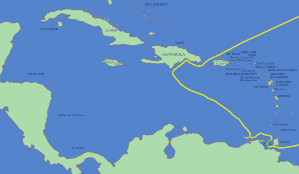 Маршрут третьей экспедиции Колумба