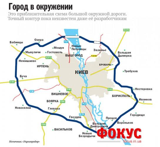 Старый проект кольцевой дороги Киева, от Укргипродор