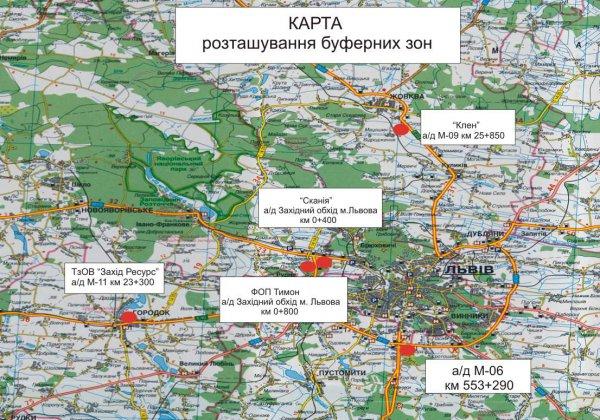 Карта буферных зон во