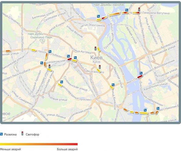 Карта наиболее аварийных участков утром (с 7 до 12 часов)