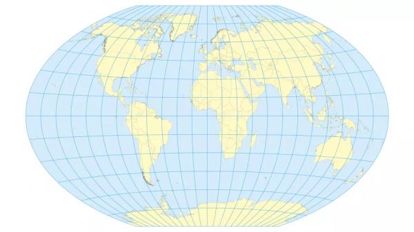 Карта мира с проекцией Винкеля Трипеля была впервые создана в 1921 году. Обратите внимание, как она искажает Антарктиду и создает иллюзию того, что Япония находится очень далеко от Калифорнии.