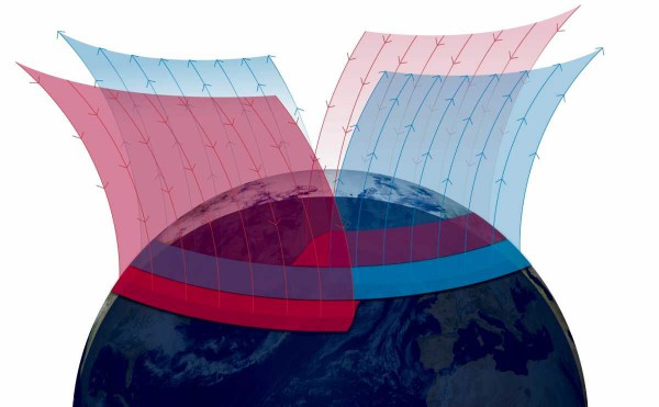 Восходящие и нисходящие токи Биркеланда в окрестностях Северного полюса Земли