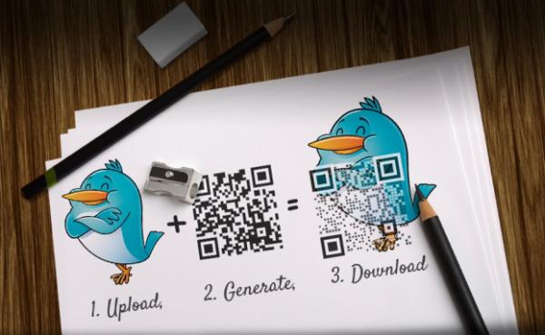Обычный QR-код и картинка с новым кодом