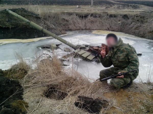 Танк утопили в болоте