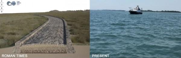 Реконструкция дороги (слева) и то, как канал выглядит сегодня (справа).