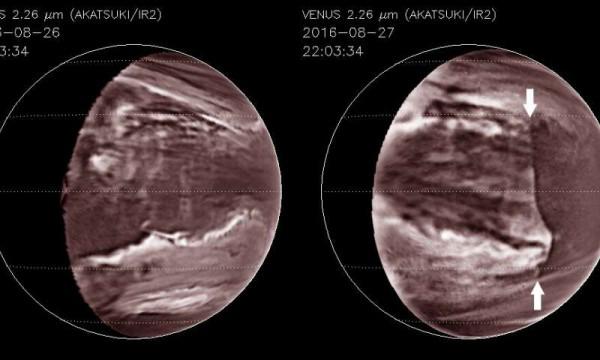 Картина разрушения облаков на инфракрасных изображениях, сделанных японским космическим агентством JAXA Akatsuki Venus на орбите в 2016 году