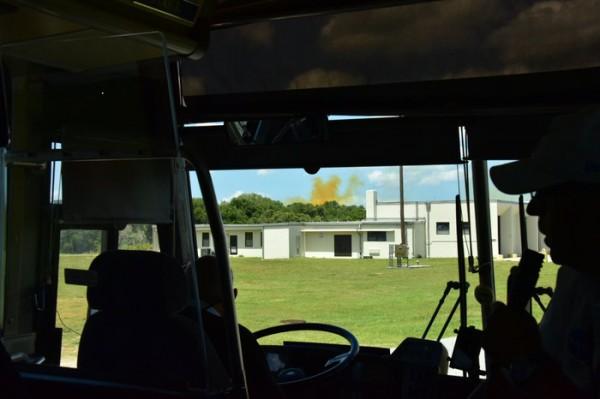 Вид на облако от взрыва из автобуса