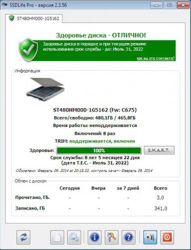 Seagate 600 480 GB - SSD Life
