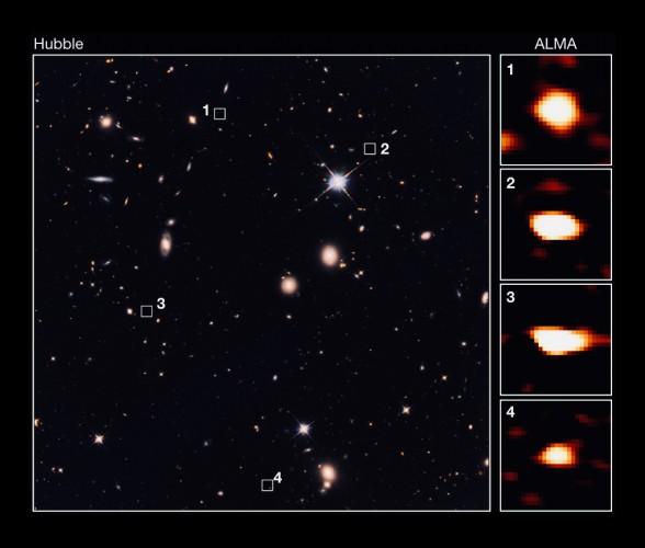 ALMA идентифицировал 39 тусклых галактик, которые не видны даже на самом глубоком снимке этой области Вселенной