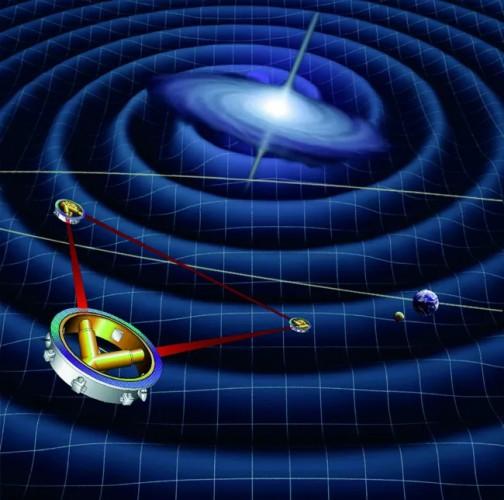 Изображение художника космического детектора гравитационных волн спутников LISA за работой