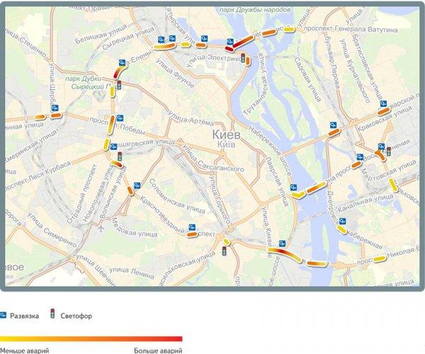 Карта наиболее аварийных участков вечером (с 16 до 23 часов)