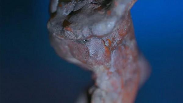Увеличенное изображение отпечатка пальца на краю фигурки