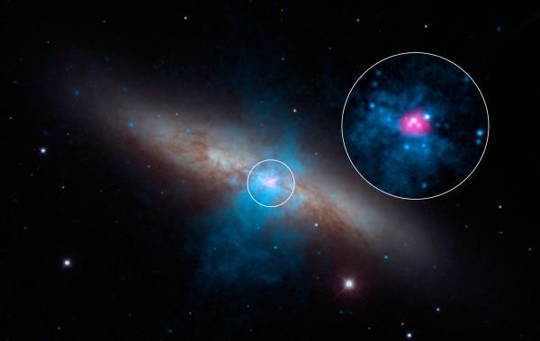 Галактика Messier 82 с самой яркой нейтронной звездой