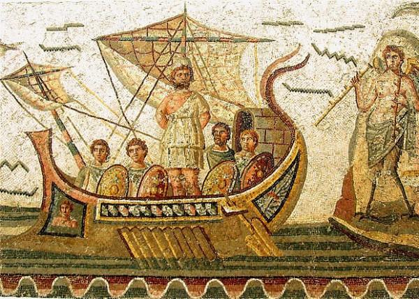 Мозаика II века нашей эры, изображающая корабль римского образца.