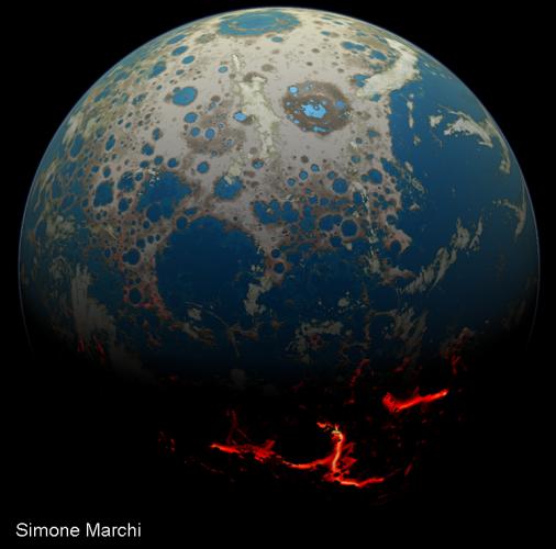 Земля 4 миллиарда лет назад в изображении художника