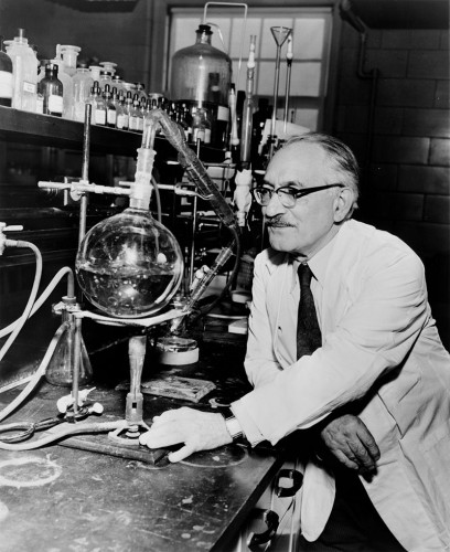 Зельман Ваксман в своей лаборатории в Ратгерском университете