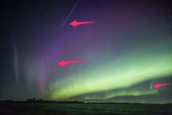 Сверху вниз - метеор, STEVE и комета на фоне зеленого полярного сияния